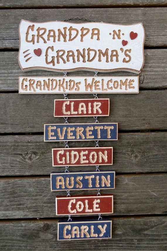 Grandpa Grandma Grandchildren Signs. This is a fun idea :)