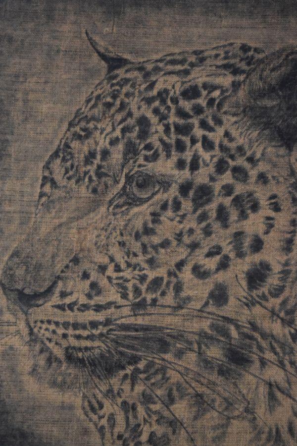 Mixed Media, Hiran Patikiriarachchi,  Leopard Face, 2012, Mixed media on gunny material, 97 x 86 cm - Art Space Sri Lanka- www.Artspacesrilanka.com