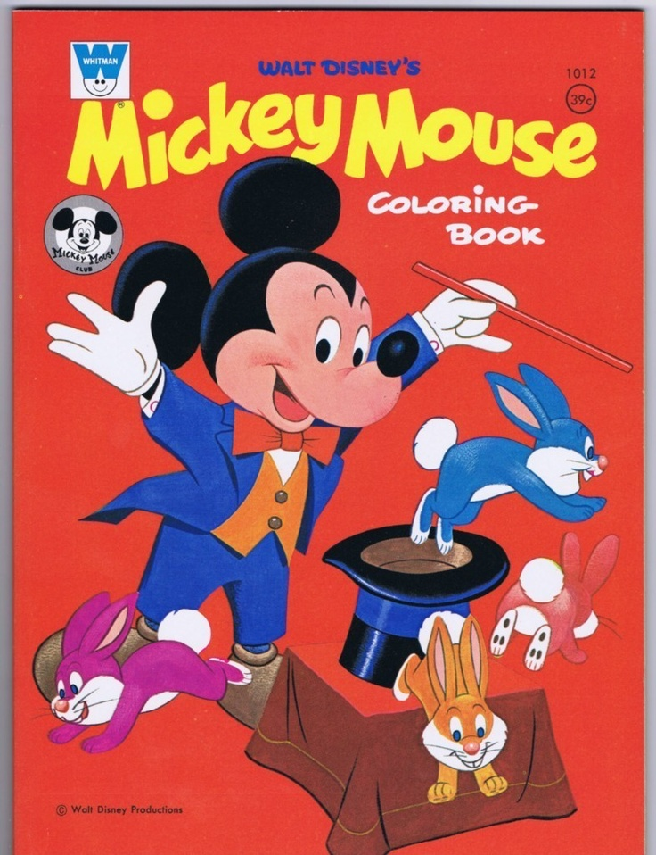 Mickey Mouse Coloring Book Whitman 1012 1968
