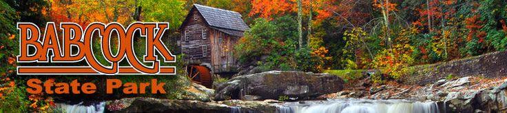 Babcock State Park = West Virginia.  camping, hiking, paddleboats, horseshoe pits, volleyball, tennis, basketball, rowboats, canoes, swimming, fishing, horseback riding, nature tours