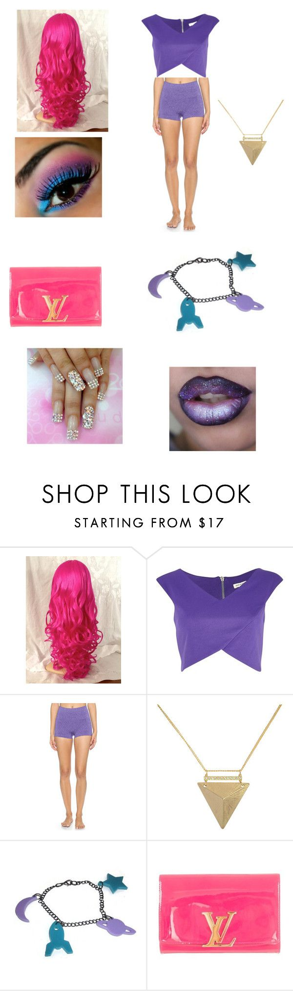 """""""Teen titans go star fire outfit"""" by samgurl9 ❤ liked on Polyvore featuring beauty, River Island, SPANX, Liz Law and Louis Vuitton"""