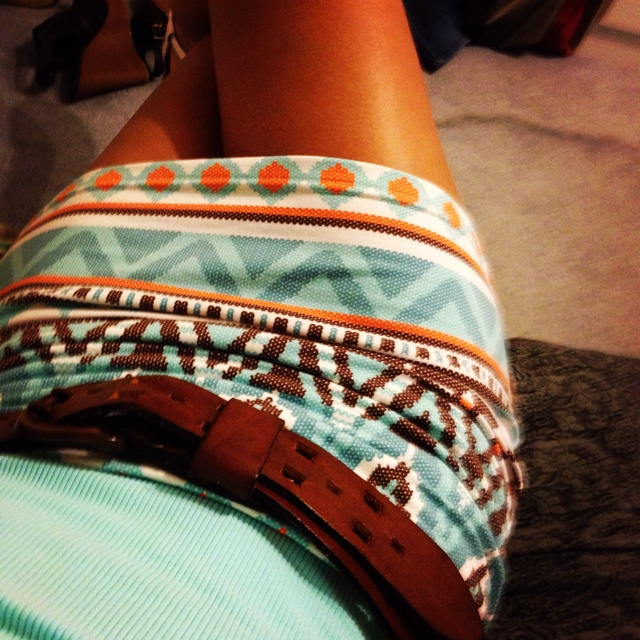 fun summer colors on fun patterned skirt
