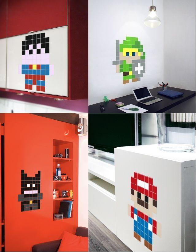 Mini Hero Pixel Stickers - Wall Decals