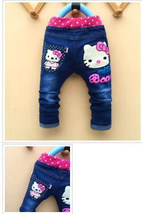 89d36efb2 kids girls jean Hello Kitty pants cashmere pants elastic waist girls  legging Trousers spring children Boys Denim Pants 1-5years Gender:Girls  Size: (US): ...
