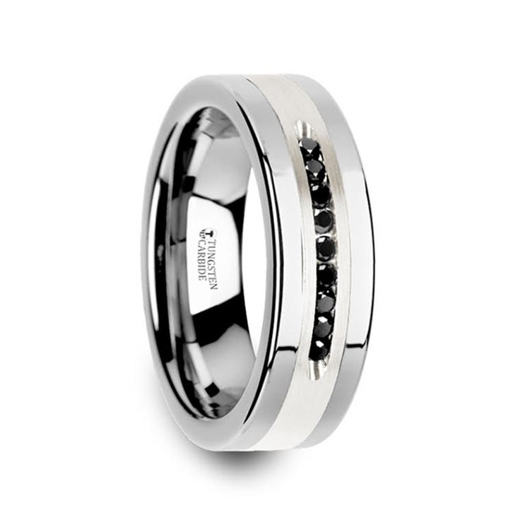 BLACKSTONE Flat Tungsten Wedding Band with Brushed Silver Inlay Center and 9 Channel Set Black Diamonds - 8mm #tungstenring #mensweddingband