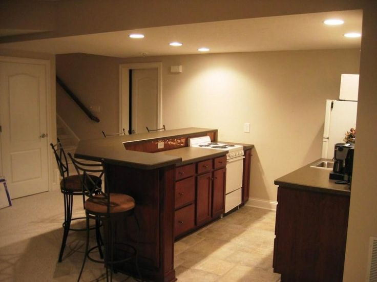 Interior:Plain White Wall Paint Combined With Small Wooden Basement Kitchen Plus Recessed Light Idea High Functional Small Basement Ideas with Smart Basement Remodeling
