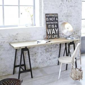 Console en métal et pin 180 Eliot - Table basse rectangulaire en métal et pin recyclé, plateau monté sur tréteaux.  Info : dim. tréteaux(H 41 x L 34 x P 82 cm - écart entre le… Voir la présentation