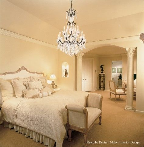 simple crystal chandelier for bedroom design with beige paint wall including white duvet cover also brown carpet covering floor - Schonbek Chandelier