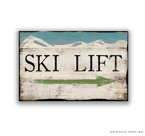 Ski Lift handmade wooden sign. Distressed style ski lift sign