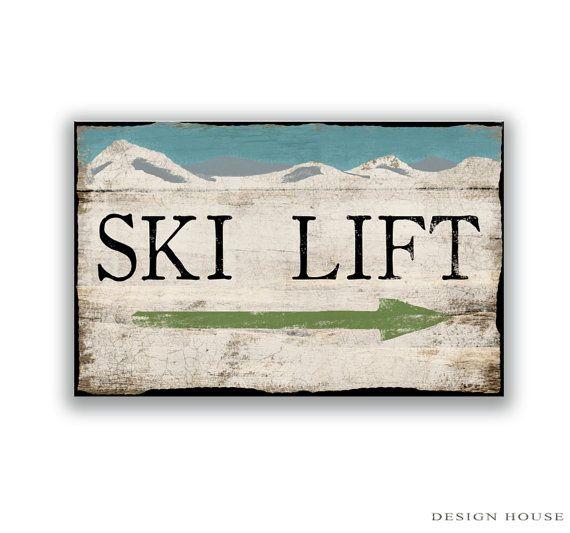 Ski Lift handmade wooden sign. Distressed by DesignHouseDecor