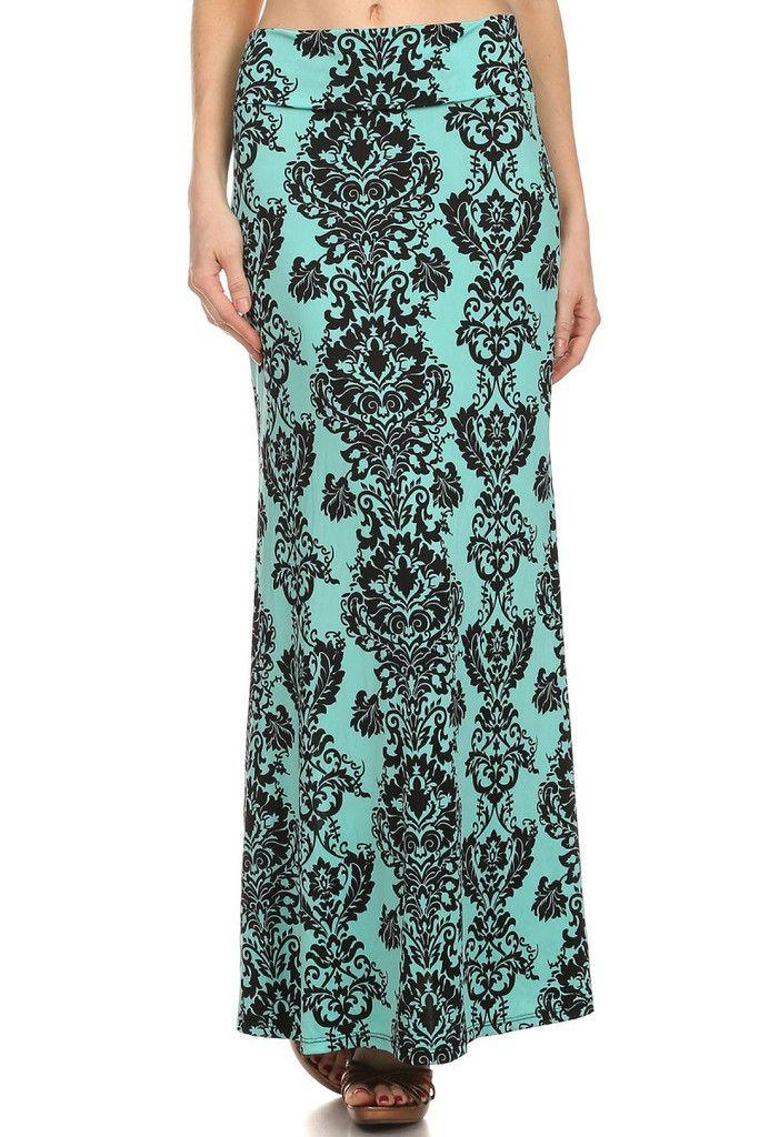 Mint Damask Print Maxi Skirt