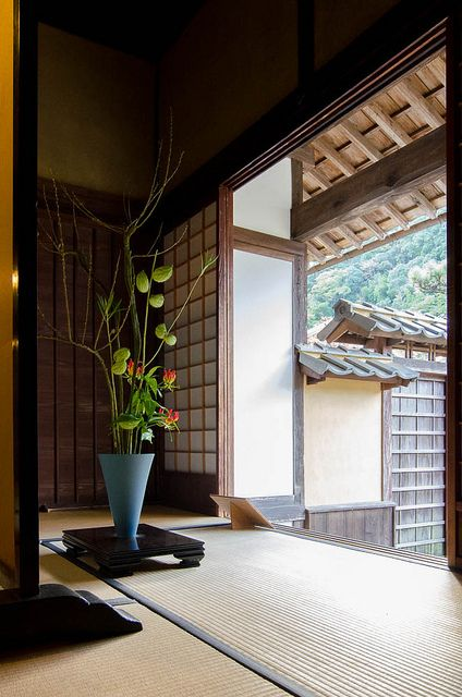 Entrance to a Samurai's residence in Shimane, Japan, with massive and marvellous ikebana as the first feature on approach
