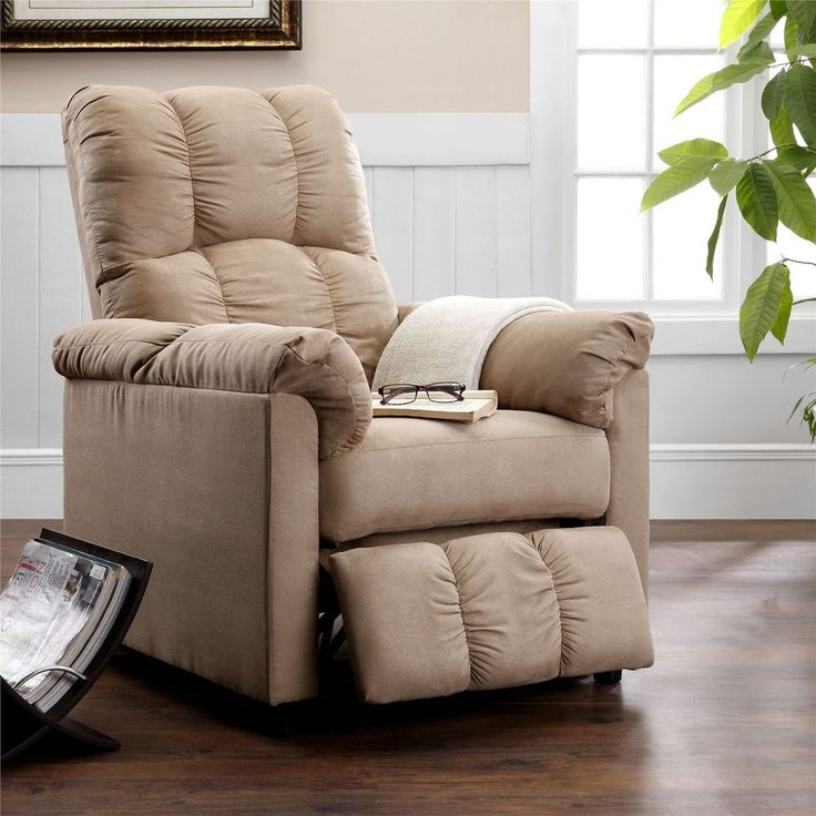 Transitional Recliner Seat Beige Tall Back Padded Microfiber Fabric Furniture #DorelLiving #Transitional #Recliner #Seat #Furniture #Chair