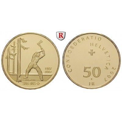 Schweiz, Eidgenossenschaft, 50 Franken 2007, 10,16 g fein, PP: 50 Franken 10,16 g fein, 2007. Schweizerische Nationalbank 1907-2007.… #coins