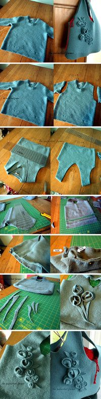 Felted sweater bag tutorial--except it is in Japanese or something!  But the pictures tell how.  Pretty neat!