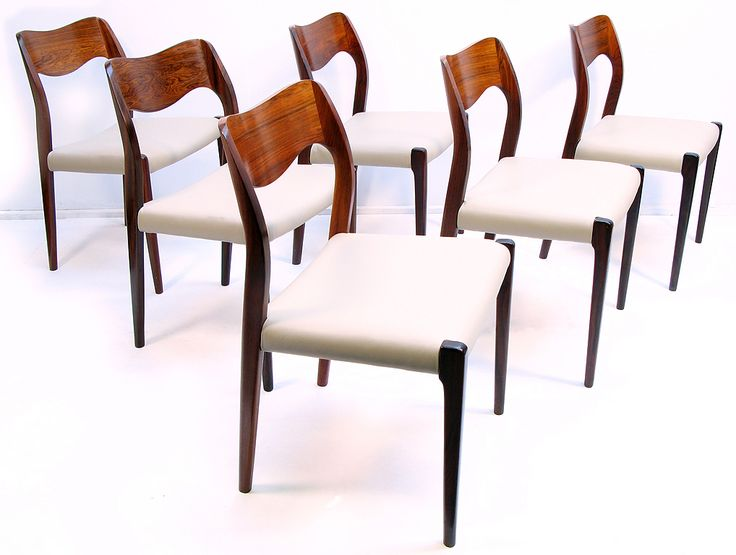 Six Danish Rosewood Dining Chairs By Niels Moller Image 3