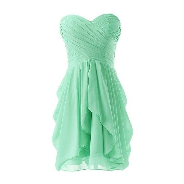 Minty Fresh by brassbracelets on Polyvore featuring polyvore, fashion, clothing, dresses, robes, short green dress, mint strapless dress, short prom dresses, strapless prom dresses and short dresses