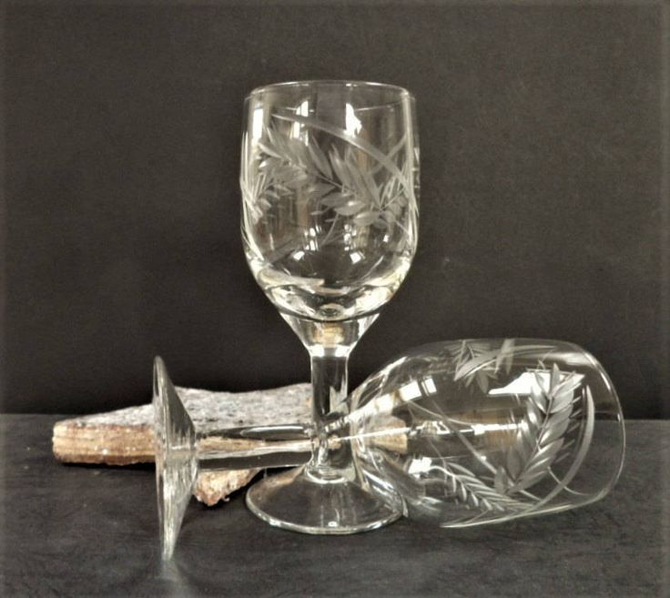 Port Glasses Pair Etched Leaf Pattern Lead Crystal Vintage Glass Home Ware Collectables Christmas Gifts