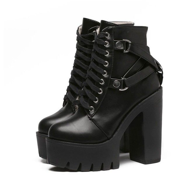 2017 BLACK FRIDAY- GOTH BUCKLE HIGH HEEL TOP BOOTS ($49) ❤ liked on Polyvore featuring shoes, boots, ankle booties, black leather boots, black leather shoes, gothic boots, platform boots and black boots