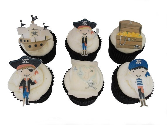 12 EDIBLE PIRATE  Cupcake Toppers  Theme by incrEDIBLEtoppers, $9.95
