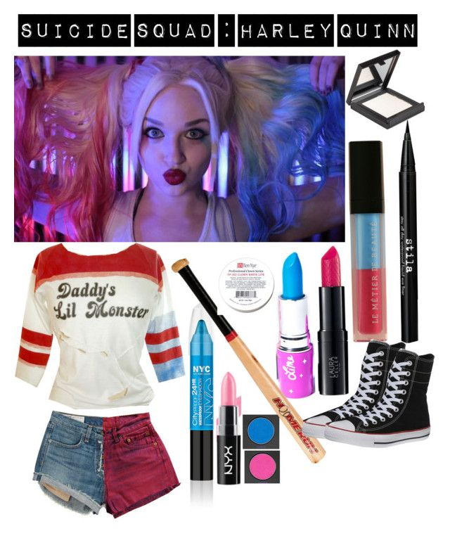 """Harley Quinn- Movie Styled Costume"" by nocolorsanymore ❤ liked on Polyvore featuring rag & bone, Stila, Lime Crime, Urban Decay, CO, Le Métier de Beauté, MAKE UP STORE and Converse"