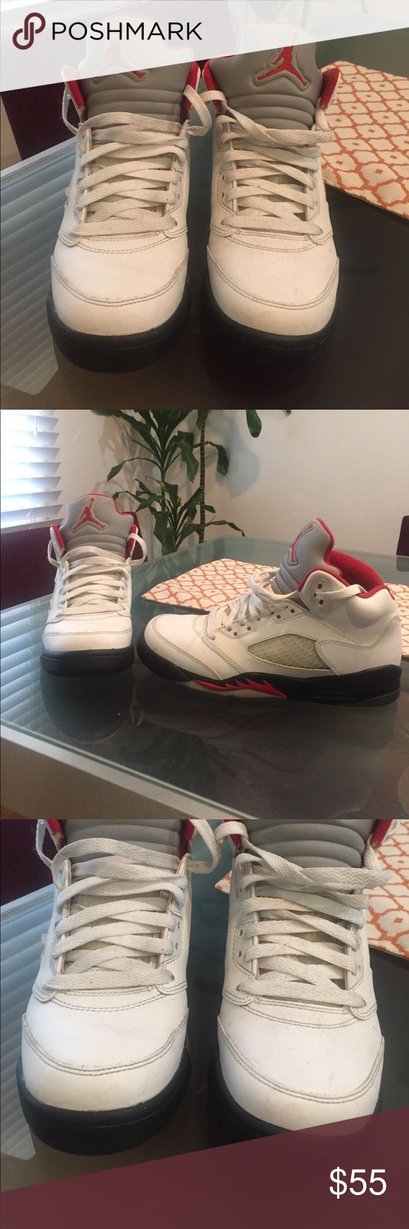 Pre-Owned Nike Air Jordan 5 Retro Fire Red- Black Pre-Owned Nike Air Jordan 5 Retro Fire Red- Black. Size is 6Y. See pictures for condition! Air Jordan Shoes Sneakers