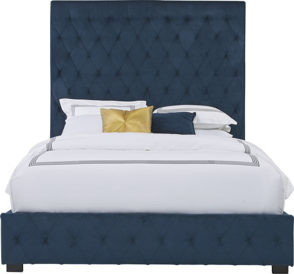 Dalena Blue 3 Pc Queen Upholstered Bed Rooms To Go In 2020 Upholstered Beds King Upholstered Bed Queen Upholstered Bed