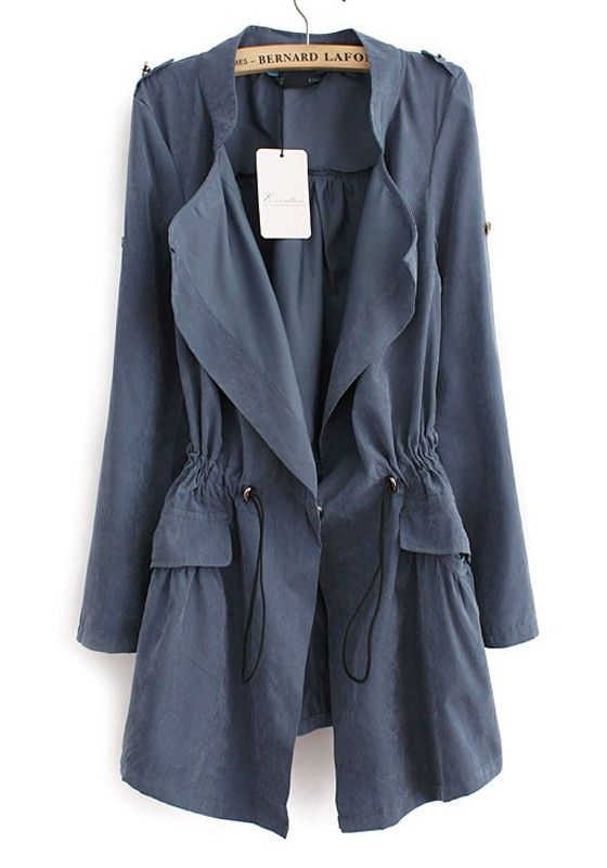 Love Love Love this Coat! Blue Drawstring Notch Lapel Cotton Blend Trench Coat #Blue #Trench_Coat #Fall #Color #Fashion