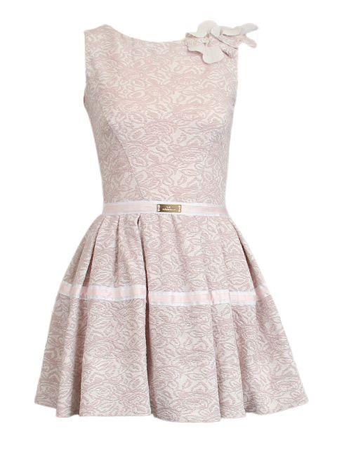 roze jurk in print en strik - Korte jurken - BoBo Tremelo