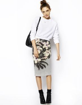 Image 1 of ASOS Pencil Skirt in Hawaiian Print