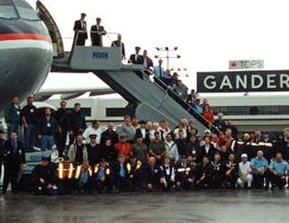 Gander Newfoundland on 911 taking Americans Gander has a population of 10,400 people and they had about 10,500 passengers to take care of from all the airplanes that were forced into Gander