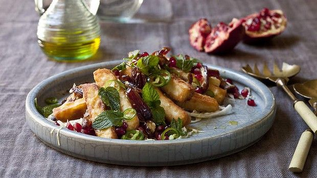 Fried haloumi with white cabbage, date green chilli salad with lemon by Karen Martini. Photography by Marina Oliphant. Styling by Andrea Geisler.