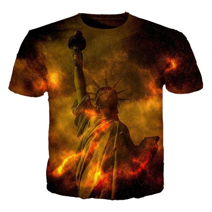 3D tshirt men 2017 Harajuku shirt Abstract Style T shirt Tops Streetwear T shirt The statue of liberty T-shirt  S-5XL Top tees