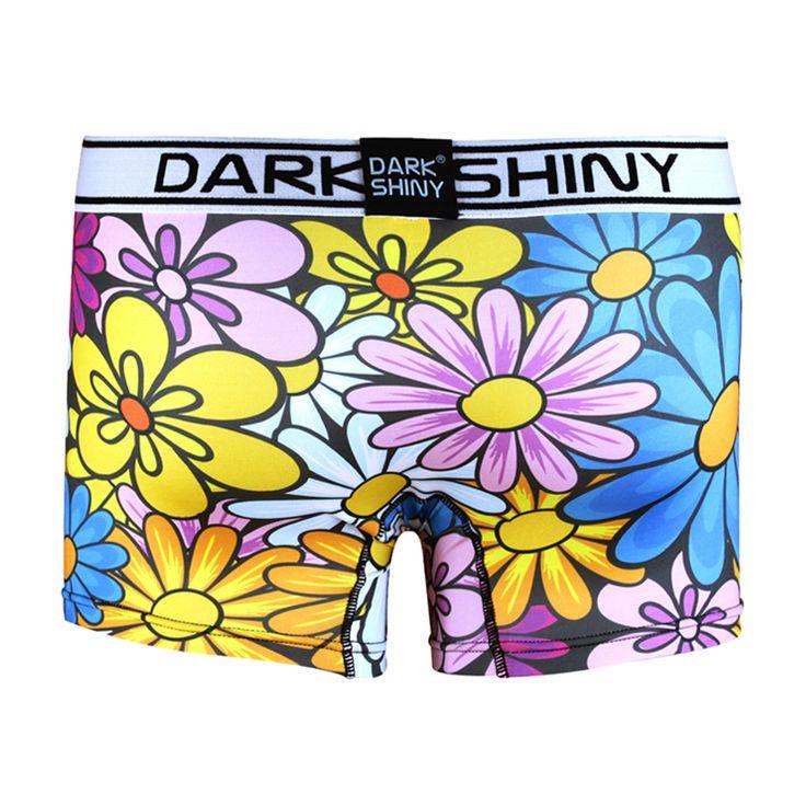 Men's Boxer Briefs-Colorful Flowers, front メンズファッション アンダーウェア ボクサーパンツ #darkshiny #mensfashion #boxerbrief #underwear #flower