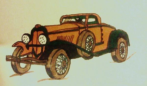 A marker sketch of an antique car