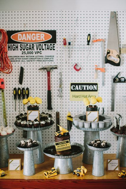 Under Construction Party, Danger - High Sugar Voltage!Construction Theme, Construction Birthday Parties, Desserts Display, Theme Parties, Construction Parties, 1St Birthday, Parties Ideas, Desserts Tables, Birthday Ideas