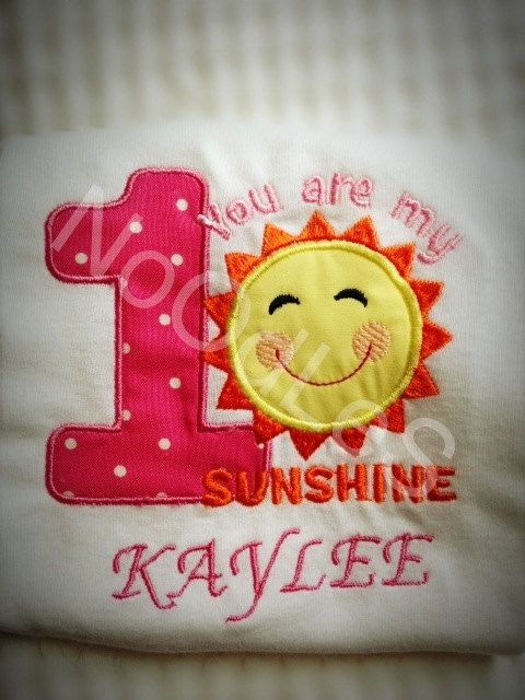 Sunshine Birthday Themed embroidered/ applique by NoOdLeSBoutique, $15.00