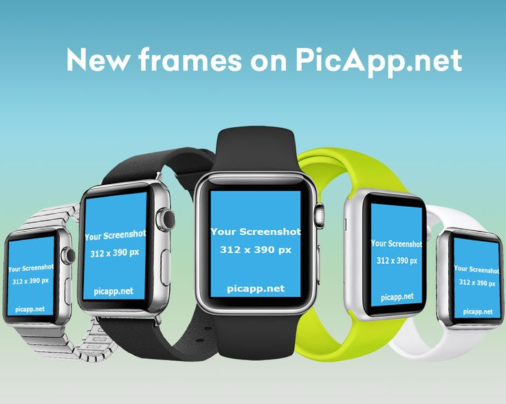 Free Apple Watch mocks. Place your app screenshots in these Apple Watch frames with just only one click on PicApp.net. #mock-up #applewatch #white #black #gray #yellow