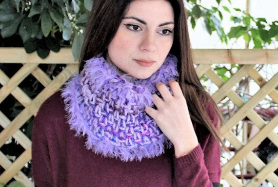 Winter knit snood Circle neck warmer Crochet cowl scarf with