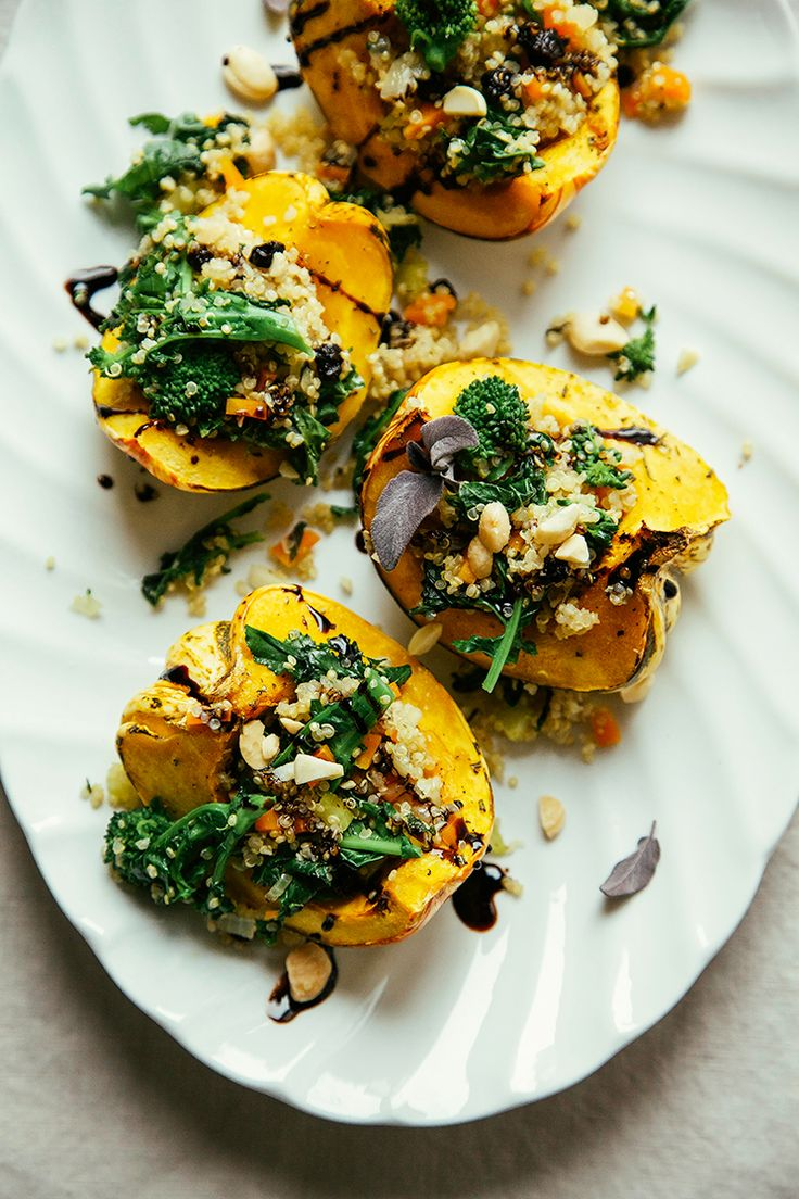 Stuffed Squash with Broccoli Rabe + Quinoa | The First Mess
