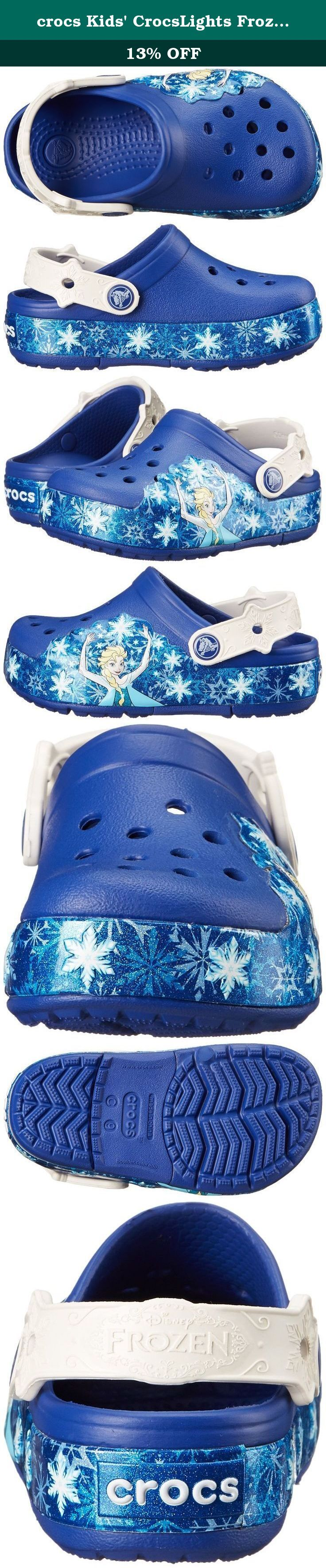 "crocs Kids' CrocsLights Frozen Light-Up Clog (Toddler/Little Kid), Cerulean Blue/Oyster, 9 M US Toddler. Lights up with each step! Crosliteâ""¢ upper with Frozen® Elsaâ""¢ graphics. Easy slip-on style with adjustable heel strap. Crosliteâ""¢ footbed for all-day cushion and comfort. Crosliteâ""¢ outsole for a pleasurable walking experience."