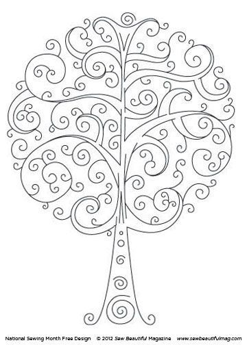 Pretty tree line drawing - printable.
