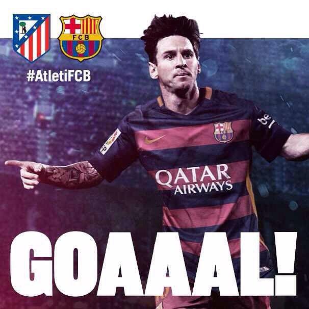 GOOOOOOOOAAAAAAAAL!  @leomessi  Atlético de Madrid vs FC Barcelona (1-2) Força Barça! #AtletiFCB #FCBLive #LaLiga #ATMvsFCB