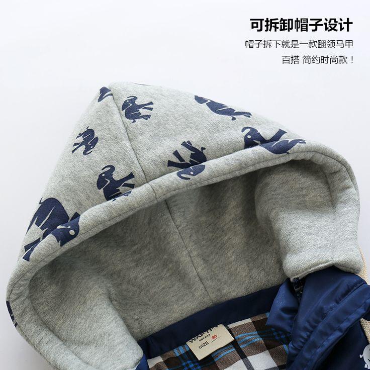 Мода baby boy зимний жилет мальчики утолщение ватные куртки жилет печати с капюшоном на молнии верхняя одежда мальчиков одежда купить на AliExpress