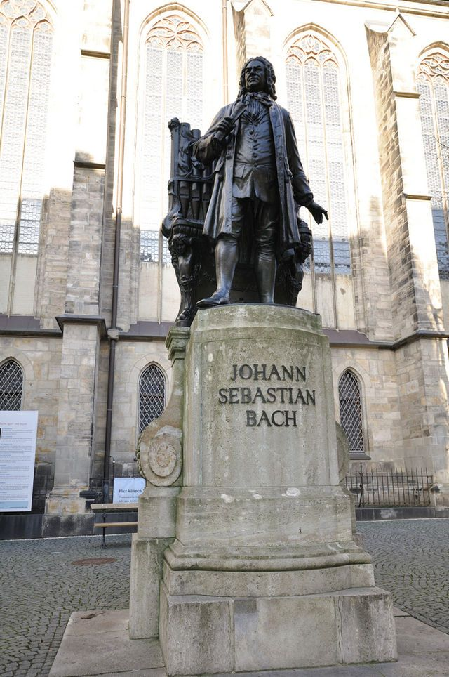 Statue of Johann Sebastian Bach at Thomaskirsche in Leipzig