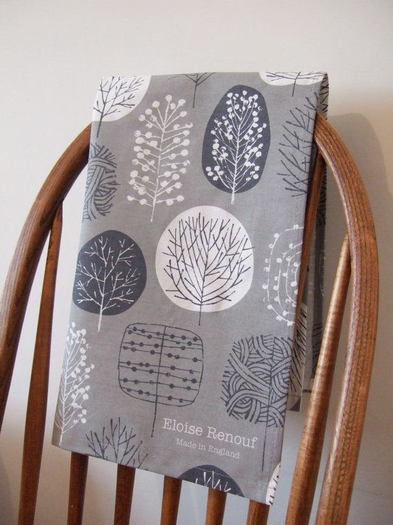 Trees Tea Towel in Slate and Charcoal by EloiseRenouf on Etsy, $17.00