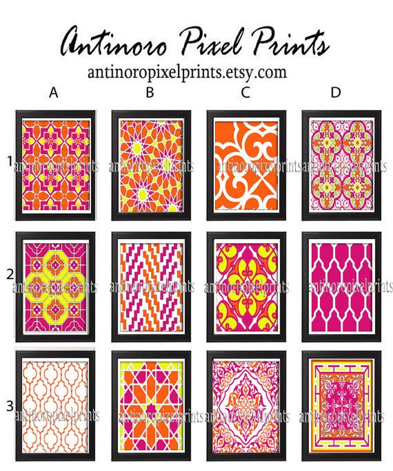 Digital Moroccan Prints Fuchsia Orange White Wall Art - Choose any  (1) -11x14 Prints - (UNFRAMED) Custom Colors and Sizes Available