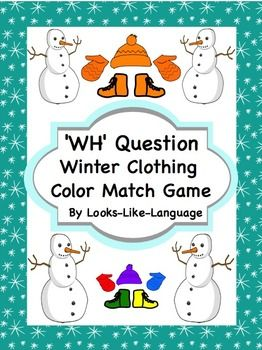 WH Question Winter Clothing Color Match- Answer questions and match colors to dress up snowmen. Includes visually supported questions using PictoSelector! Repinned by SOS Inc. Resources pinterest.com/sostherapy/.