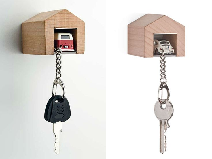 Designer Andre Rumann has come up with a cute key rack that looks like a miniature wooden garage, wherein you park the accompanying model car key chain, ensuring its safety – not to mention your sanity. The car models include a VW bus, a Porsche, a Karmann Ghia, a Beetle, and a Jaguar E-Type.