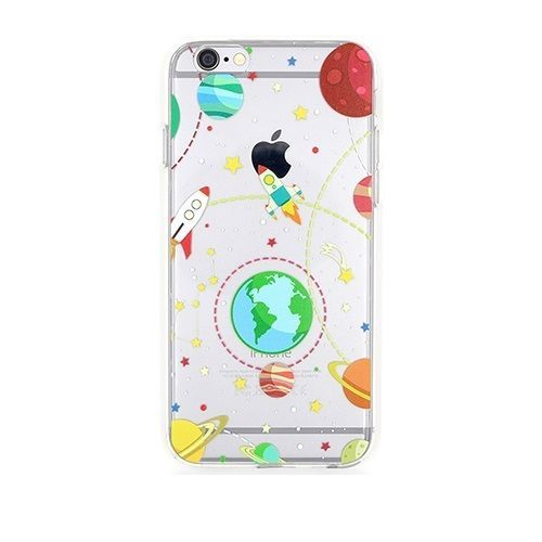 Space rockets stars planets Earth universal iPhone 5/5S/6/6 plus soft case